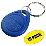 UHPPOTE Proximity EM4100 125KHz RFID EM-ID Card Tag Token Key Chain Keyfob Read Only Color Blue (Pack Of 10)