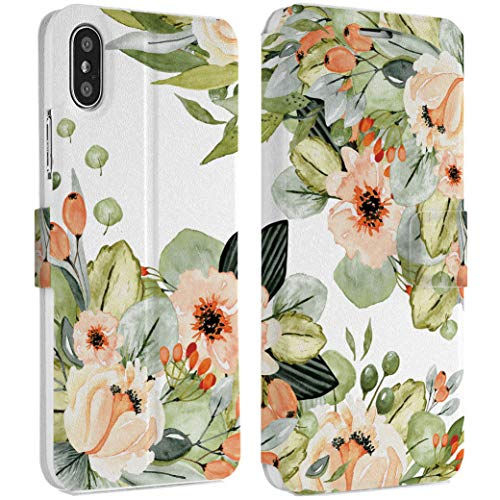 Wonder Wild Beige Bouquet iPhone Wallet Case X/Xs Xs Max Xr 7/8 Plus 6/6s Plus Card Holder Accessories Smart Flip Hard Design Cover Flowers Girly Floral Blooming Petal Bud Gentle Ornament Fashion