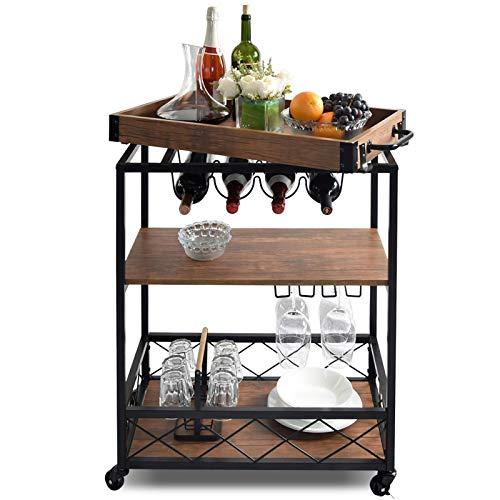 NSdirect Kitchen Cart,Kitchen Bar&Serving Cart Rolling Utility Storage Cart with 3-Tier Shelves,Metal Wine Rack Storage…