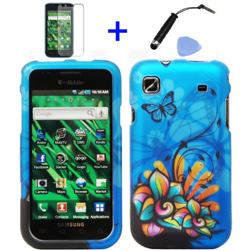 4-items-Combo-Stylus-Pen-Screen-Protector-Film-Case-Opener-Graphic-Case-Blue-Butterfly-Orange-Pink-Green-Color-Daisy-Flower-Design-Rubberized-Snap-on-Hard-Cover-Protector-Shell-Faceplate-Skin-Case-for