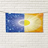 Chaneyhouse Space,Hair Towel,Split Design with Stars in The Sky and Sun Beams Solar Balance Nature Image Print,Quick-Dry Towels,Blue Yellow Size: W 8'' x L 23.5''