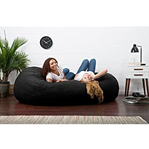 Big Joe XXL Fuf Foam Filled Bean Bag Chair, Comfort Suede, Black Onyx