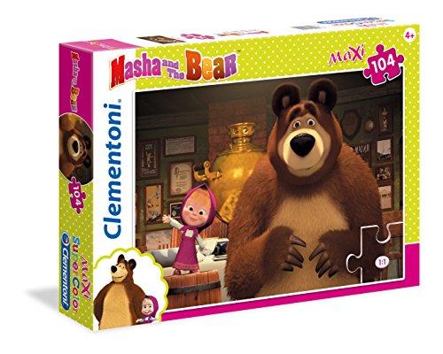 Clementoni puzzle da 104 pezzi maxi con tematica masha e orso