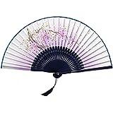 Oriental Vintage Style Folding Fan Hand Fan Foldable Handheld Fan Summer Perfect Gift, K