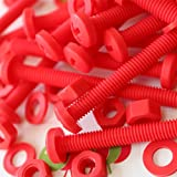 20 x Red Philips Pan Head Screws Polypropylene (PP) Plastic Nuts and Bolts, M6 x 60mm, Washers, Acrylic, Water Resistant, Anti-Corrosion, Chemical Resistant, Electrical Insulator, Strong.