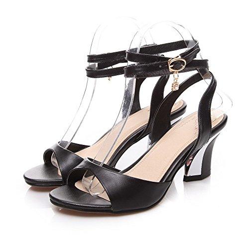 para Negro Sandalias tacones y tacones VogueZone009 mujer punta de de de sólidas metal Combinación abierta zC0Bxq6