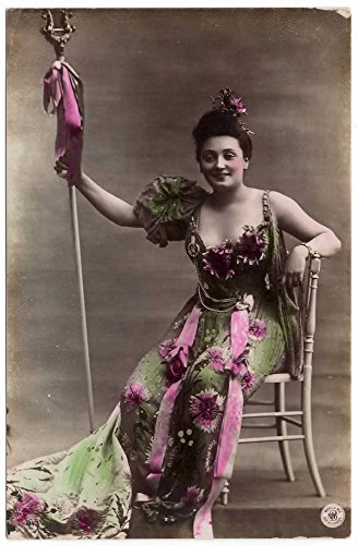 [Tinted Real Photo Postcard Woman in Fancy Flower Covered Dress~105763] (Hollywood Fancy Dress)