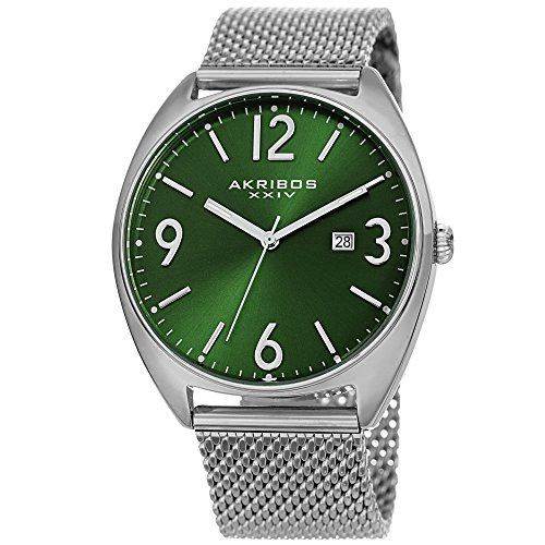 Akribos XXIV Men's Watch - Fashionable Stainless Steel Mesh Bracelet Green Sunburst Dial and Date Window - Tonneau Analog Quartz - AK1026GN ()