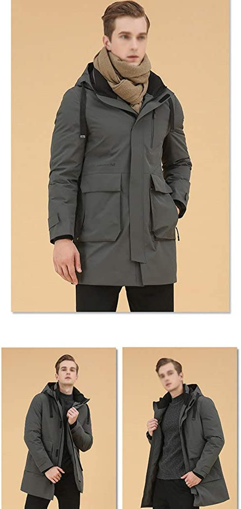 ZZCLOTH Men's Winter Warm Down Coat Men Packaged Down Puffer Jacket Long Coat with Hooded Black 190(56)