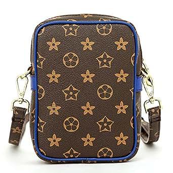 Olyphy Designer Wallet for Women Men, Long Tri-fold Credit Card Holder Retro Purse Crossboday Shoulder Bag - brown - Small