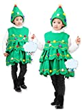 Girls Flannelette Christmas Tree Costumes Performance Dress Set