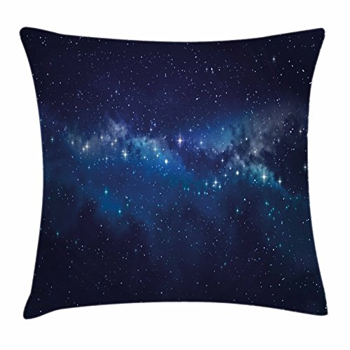 """Lunarable Star Throw Pillow Cushion Cover, Deep in The Mysterious Space Theme Dark Blue Midnight Sky Celestial Inspirational, Decorative Square Accent Pillow Case, 26"""" X 26"""", Indigo Blue"""