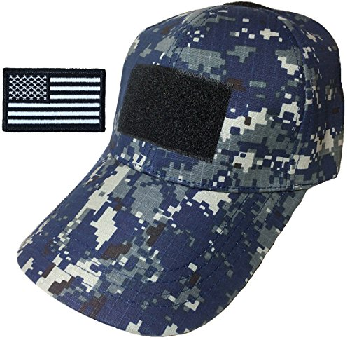 Ranger Return Tactical Military Digital Navy Blue Army Camo Camouflage Baseball Adjustable Hat Cap with USA Flag Patch - (Red Heart Attack Emblem)