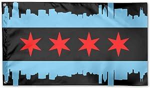 UDSNIS Chicago City Flag Garden Flag 3 X 5 Flag For Yard Decorative Banner Black