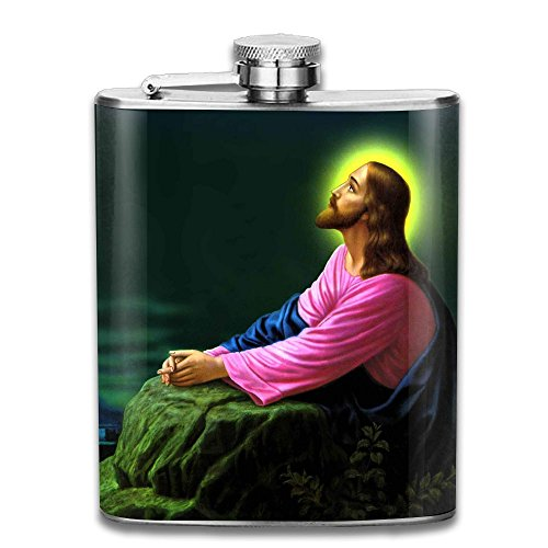 Jesus Christ Praying Flagon Wine Pot Stoup Stainless Steel Flask And Funnel Liquor Alcohol Rum Container Pocket For Adults