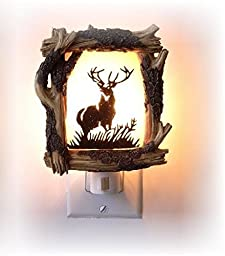 4.5 Inch Wooden Design with Antlered Deer Silhouette Night Light