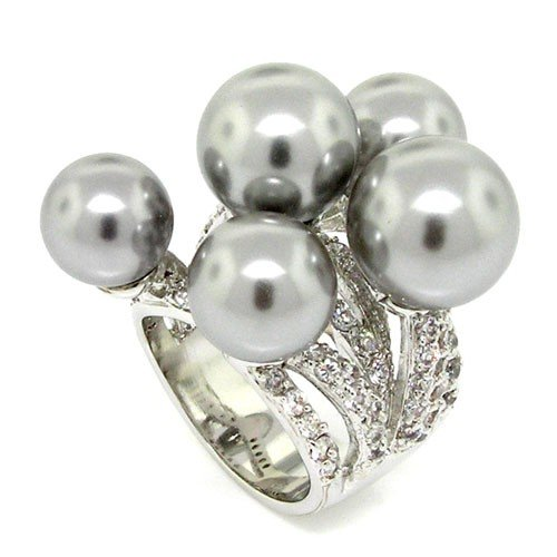 Spectacular Sim. Tahitian Pearl Sterling Silver Ring w/Pavé Size - Tahitian Pave Ring