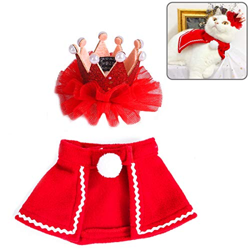 Lovinouse Pet Christmas Costumes, Cat Dog Christmas Cloak with Lace Princess Crown, Xmas Gift for Kitten and Puppy Cosplay Christmas Costumes New Year Dressing up Party (S) (Christmas Kitten New For)