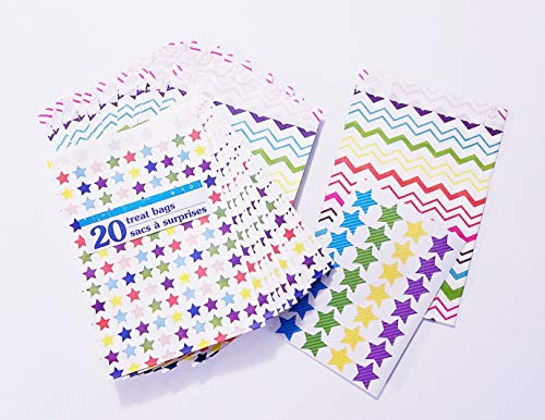 Star Party Favor Treat Bags ~ 20 Treat Sacks & 24 Star Stickers, Multi-Colored Stars ~ Bonus: 6 Chevron Party Favor Bags