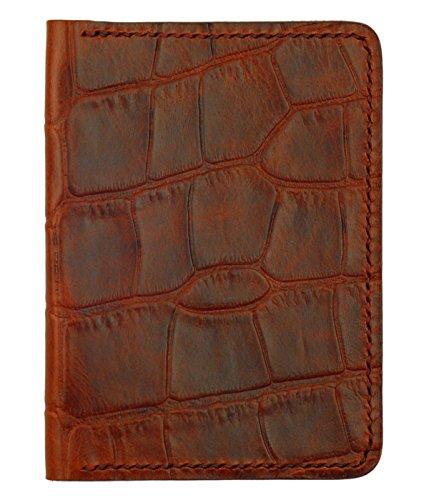 Leather Passport Cover, Mahogany Crocodile Grain Leather w/Cognac Interior, Handmade ()