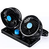 Pevor Mini 12V Electric Car Fan Low Noise Summer Car Air Conditioner 360 Degree Rotating 2 Gears Adjustable Car Fan Air Cooling Fan