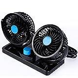 Pevor Mini 12V Electric Car Fan Low Noise Summer Car Air Conditioner 360 Degree Rotating 2 Gears Adjustable Car Fan Air Cooling Fan