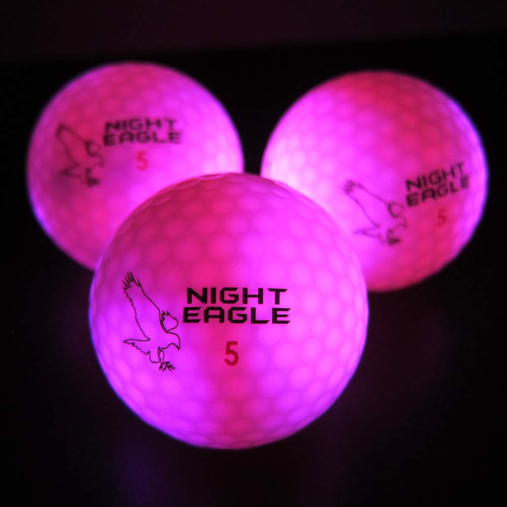 Night Eagle Light Up LED Golf Balls - 6 Ball Pack (Pink) by Night Eagle