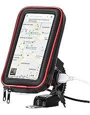 Suporte com tomada Carregador USB de Celular Impermeável para moto scooter motoboy motocicleta Universal Smartphone GPS 6 polegadas capa prova d'água