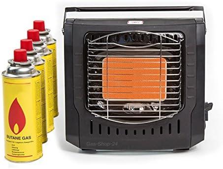 Calefacción por Infrarrojos de 2 kW/Camping Gas con 4 Unidades Cartuchos de Gas (Gas Horno, Camping, Cartucho de Gas, HGS Calefacción, Cartucho ...