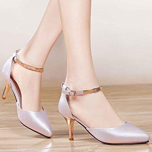 Helen Scarpe singole femmine tacchi alti con scarpe cave scarpe selvaggie appuntite (rosa) ( dimensioni : 35 yards )