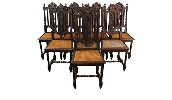 35fc387e2f91c 6 Antique Dining Chairs 1880 French Hunting Style Regal Carved Oak Cane  Seats  Amazon.ca  Home   Kitchen