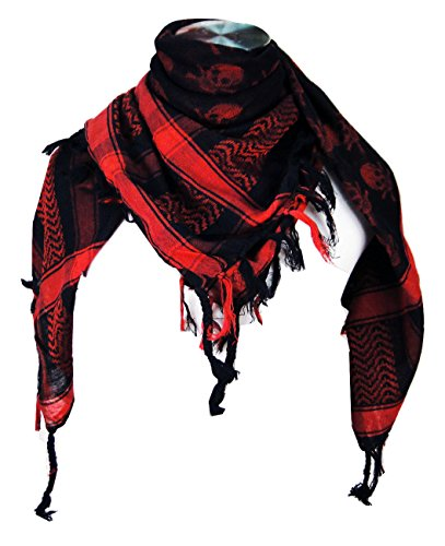 - Premium Skull Pattern Shemagh Head Neck Scarf - Red/Black