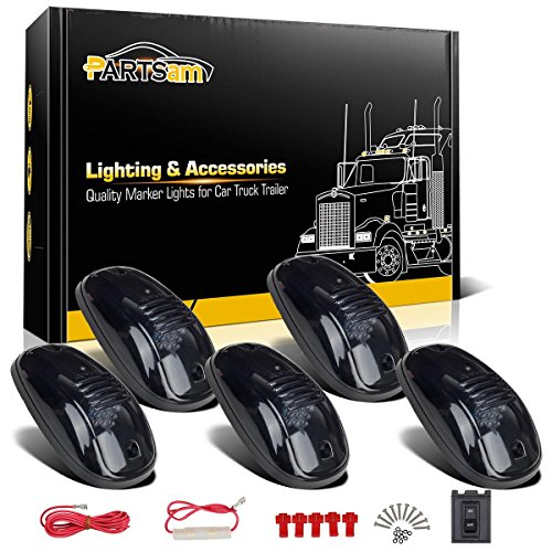 Partsam 5 Smoke Roof Cab Marker Clearance Light Amber LED+Wiring pack for Dodge Ram 1500 2500 3500 4500 5500 (Cab Lights With Wiring compare prices)