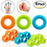 Hand Grip Strengthener & Finger Stretcher, Foonii Training Equipment Set, Strength Trainer Resistance Bands for Forearm Exercise, Guitar Finger Strengtheners and Rock Climbing Grips Workout, 6 Pack