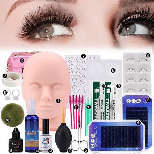 19pcs False Eyelashes Extension Practice Exercise Set, Professional Flat Mannequin Head Lip Makeup Eyelash Grafting Training Tool Kit for Makeup Practice Eye Lashes Graft (Best Eyelash Extension Starter Kit)