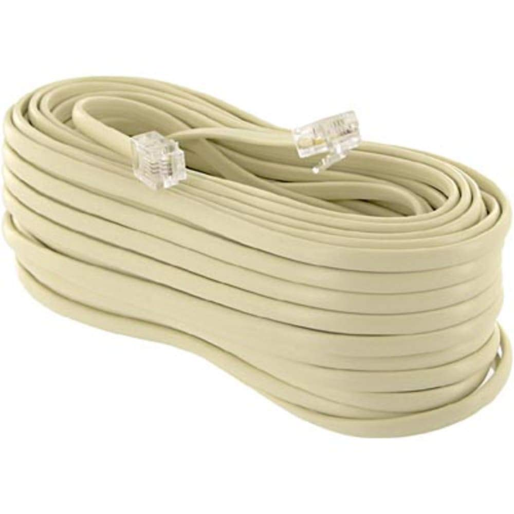 Extension Cord; Modular Line Cord; 50 ft; Ivory, Pack of 5