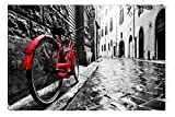 Startonight Canvas Wall Art Black and White Abstract Red Bike and Street, Dual View Surprise Artwork Modern Framed Ready to Hang Wall Art 100% Original Art Painting 31.5 x 47.2 inch