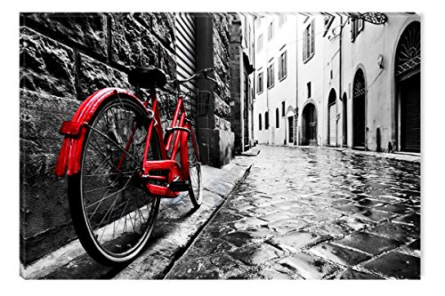 Startonight Canvas Wall Art Black and White Abstract Red Bike and Street, Dual View Surprise Artwork Modern Framed Ready to Hang Wall Art 100% Original Art Painting 31.5 x 47.2 inch by Startonight