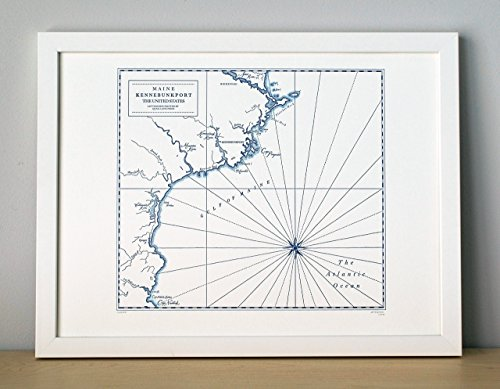 Kennebunkport Maine, Letterpress Map Unframed Print - Old Navy Classic Rise