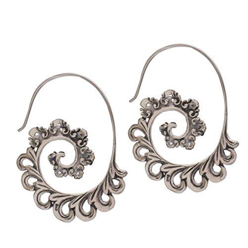 NOVICA .925 Sterling Silver Paisley Half Hoop Earrings 'Paisley Ferns'