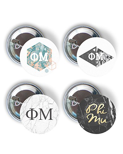 Phi Mu Marble Variety Pack of Buttons 2.25-inch - Phi Mu Fraternity