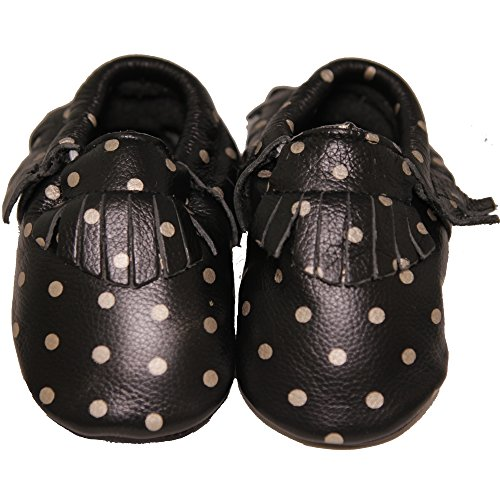 CONDA Baby Handmade Black with Silver Polka Dot Baby Moccasins Leather Soft Sole Slip on Baby Shoes for Boys and Girls 100% Size 0-6 Months