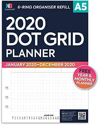 NBplanner 2020 - Recambios para agenda (tamaño A5), color Rejilla de punto