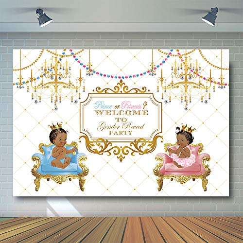 COMOPHOTO Prince or Princess Photography Background Royal Gender Reveal Party Backdrop 7x5ft Vinyl Pink or Blue Party Banner for Photo Booth Decorations -