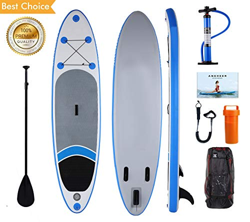 Kepteen Inflatable Stand Up Paddle Board (6 inches Thick) 10 SUP Boards, with Full SUP Accessories Adjustable Paddle, Leash, Hand Pump and Backpack (Blue)