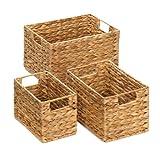 Koehler Home Decor Holiday Bath Accessory Magazine Storage Organizer Straw Nesting Woven Baskets, Beige, 14'' x 10'' x 8-1/8''