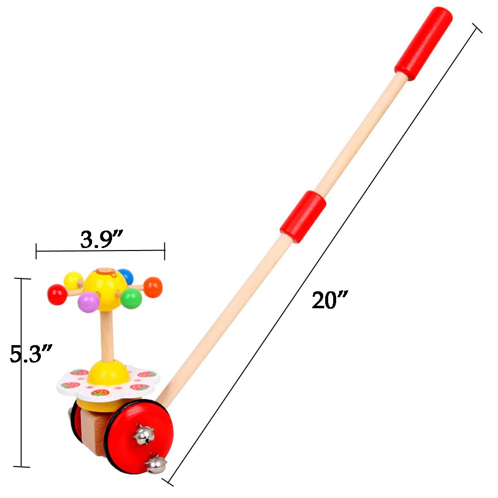 O-Toys Baby Walker Wooden Push and Pull Walking Toy Push Along Strawberry with Wheel for Boys Girls Infant Kids 18 Months and Up by O-Toys (Image #2)