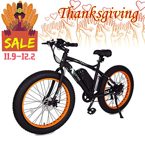 """ECOTRIC Fat Tire Electric Bike Beach Snow Bicycle 26"""" 4.0 inch Fat Tire ebike 500W 36V/12AH Electric Mountain Bicycle with Shimano 7 Speeds Lithium Battery Black/Orange/Blue (Orange)"""