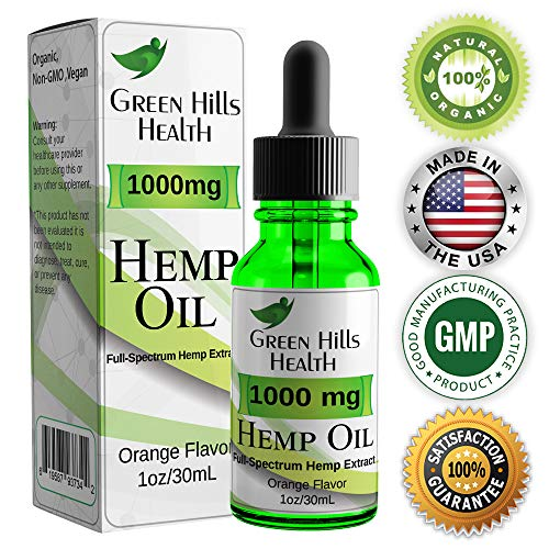 Hemp Oil 1000MG Premium Hemp Oil for Pain Anxiety, Stress and Inflammation. Improves Mood Sleep Skin & Hair Organic Vegan Non-GMO Orange Flavor 1 Fl Oz Low Intro Price