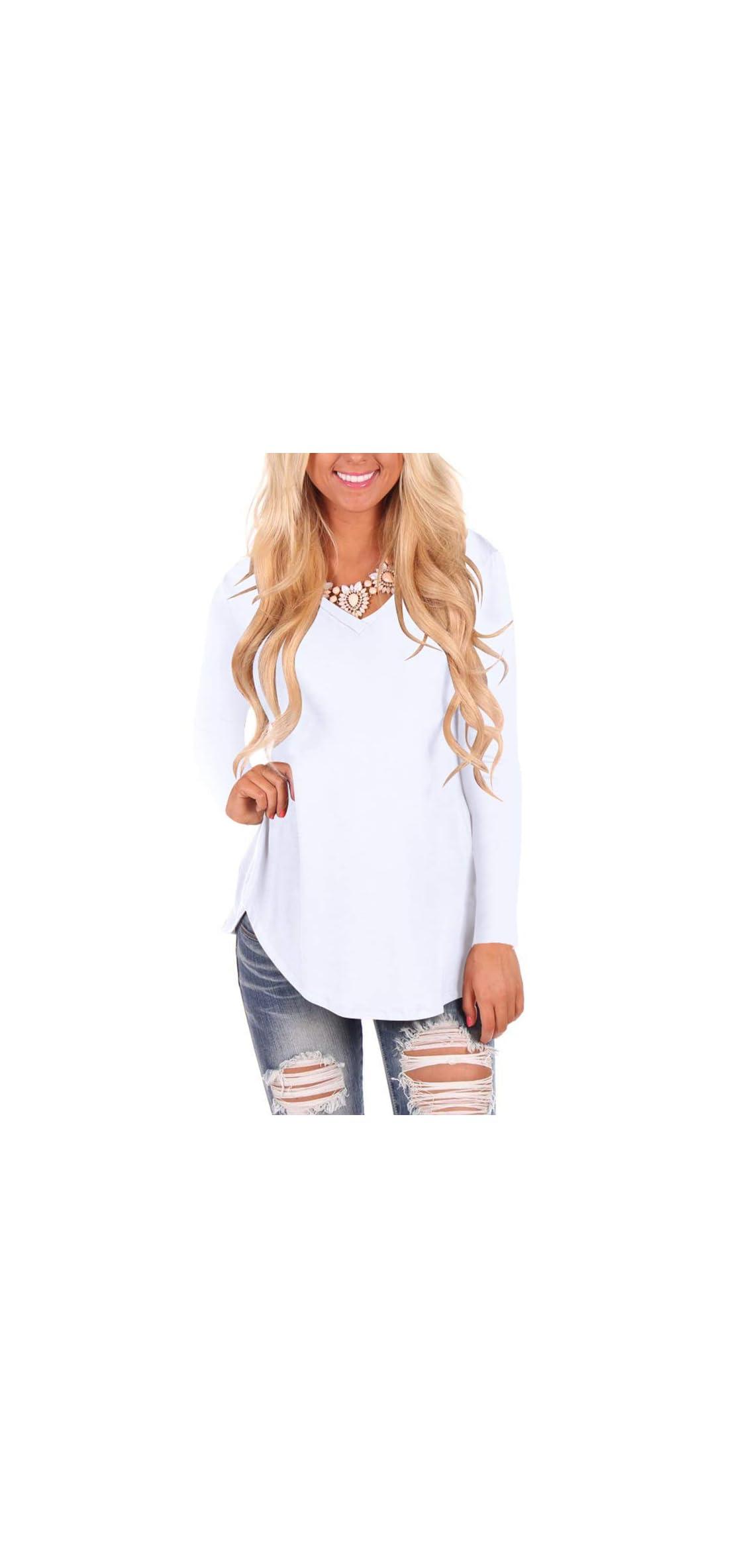 Womens Casual Curved Hem Long Sleeve T Shirt V Neck